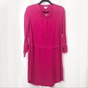 Splendid Hot Pink Long Sleeve Shirt Dress sz M NWT